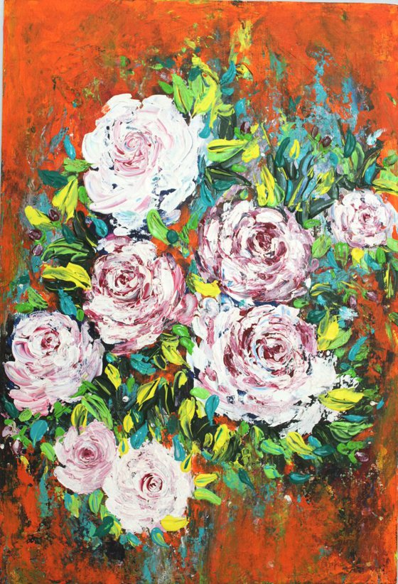 """""""I will hold you in my hands forever, 2017"""" - Roses Bouquet Floral Acrylic Painting"""