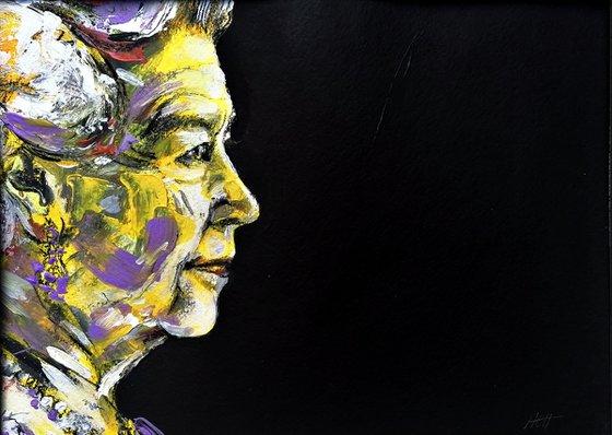 '95' profile Queen Elizabeth 2 original painting A3