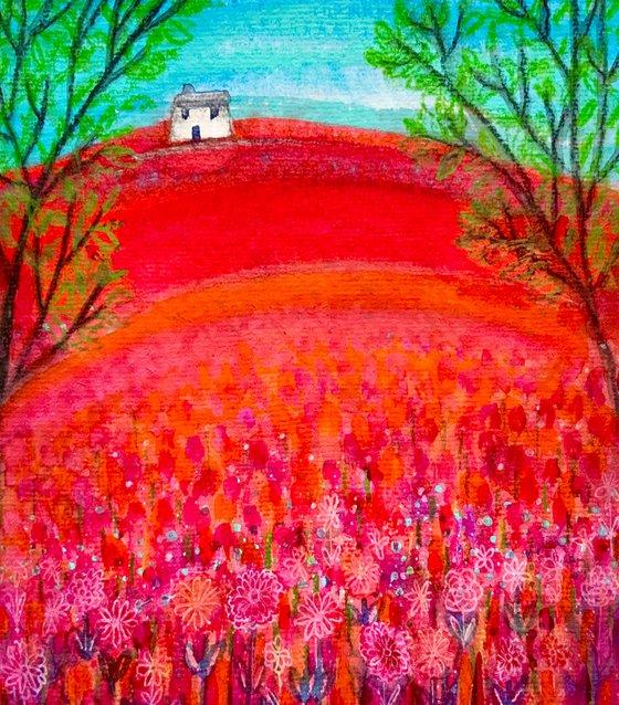 Crimson Meadow, watercolour painting