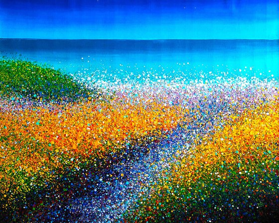 """Sea beach painting Sunny seascape Azure sea Bright artwork  - ROLLED - 39"""" x 53""""/ 95 x 120 cm. Abstract seascape Dunes"""