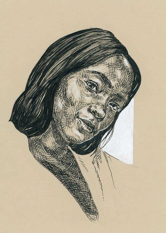 Black woman portrait. Portrait on paper
