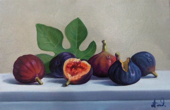 Still life with fig-4 (20x30cm, oil painting, ready to hang)