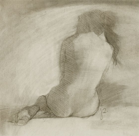 Female Nude D35 / drawing / charcoal / woman / tonalism / soft / atmospheric / mood