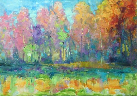 Forest fairy tale painting, Original Art, Landscape Flower Painting, Art Painting by Kseniya Kovalenko
