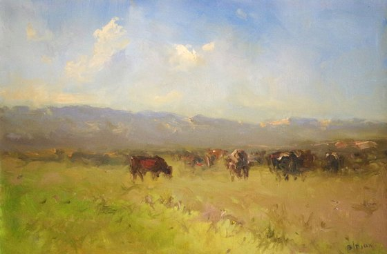 Cows in the Field, Original oil Painting,Handmade art, Impressionism, One of a Kind