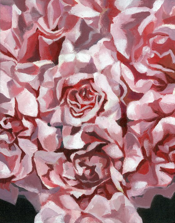 roses are pink acrylic floral