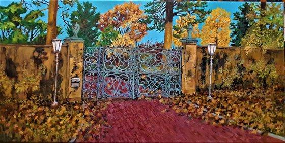 Chestnut Hill Estate Gates in Fall