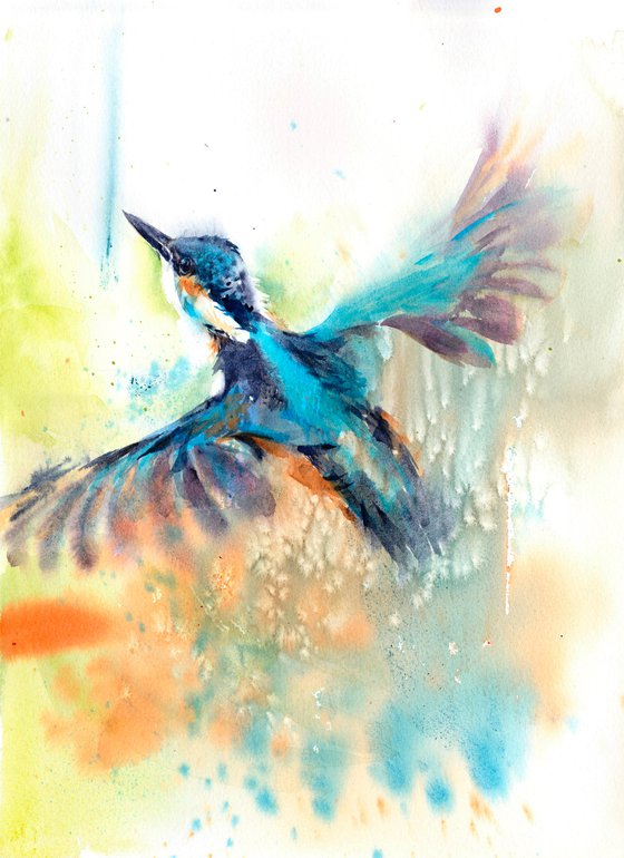 Kingfisher in flight, an original watercolour painting