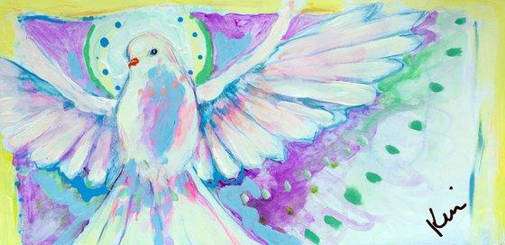 "Dove Study 12x6"" Light Soft Abstract Dove Bird Study on Paper"