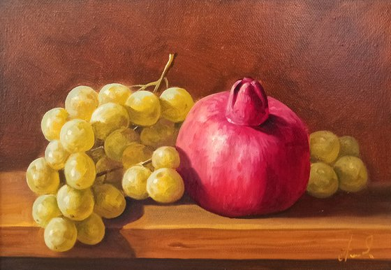 Still life with pomegranates and grapes (20x30cm, oil painting, ready to hang)