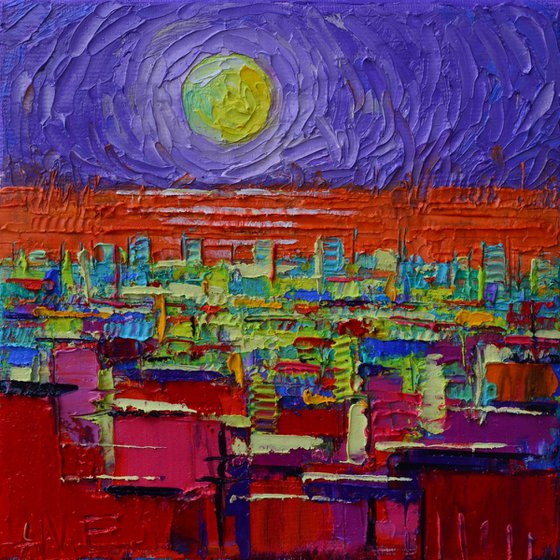 ABSTRACT CITY SKYLINE WITH ORANGE SEA AND LIME MOON ON PURPLE SKY textural impasto palette knife oil painting contemporary art by ANA MARIA EDULESCU