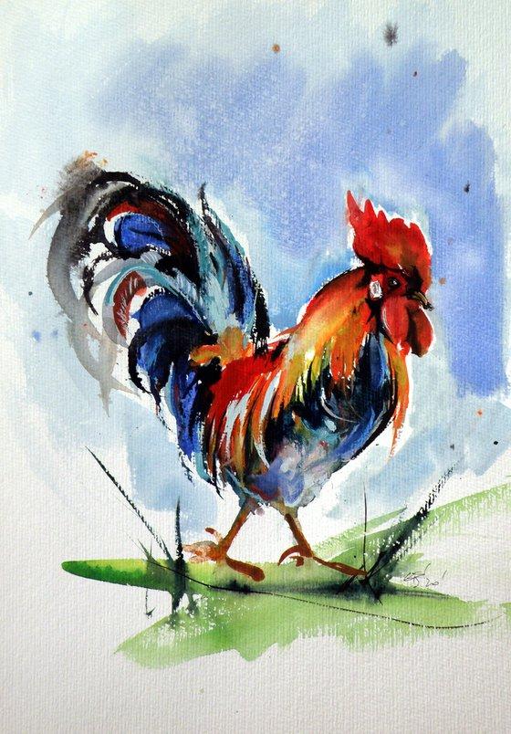 Walking rooster /35 x 25 cm/