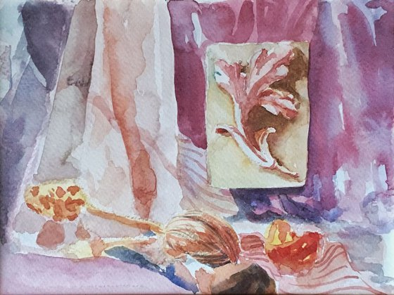 Still Life with Drapery in Watercolor