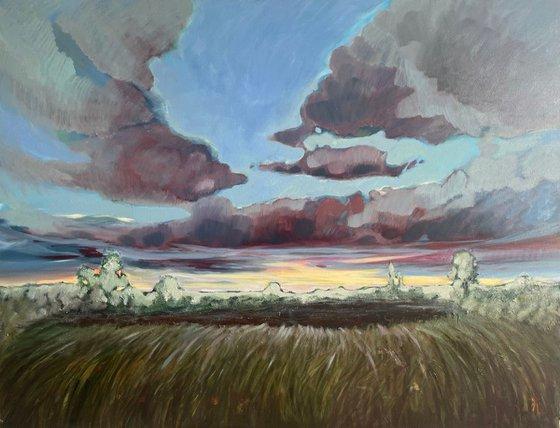 Autumn sunset large oil painting