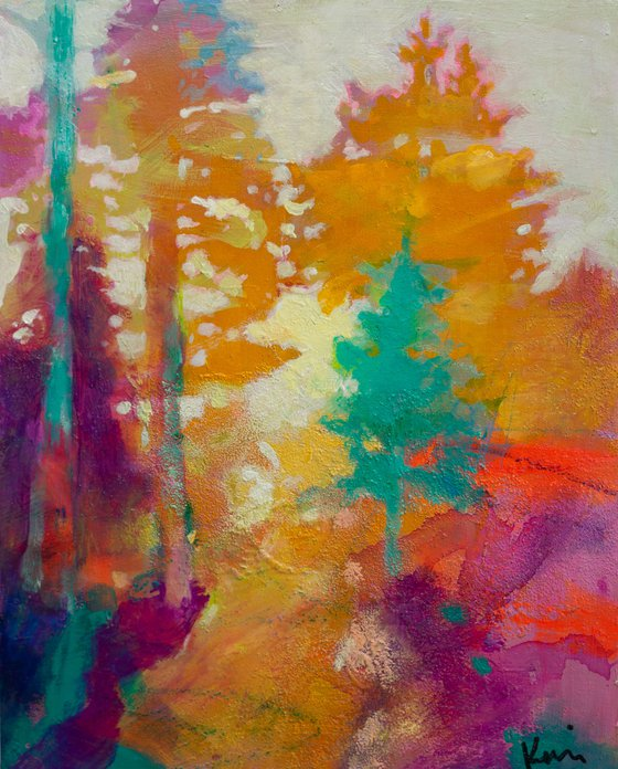 """Forest Light 8x10"""" Small Abstract Landscape Painting"""