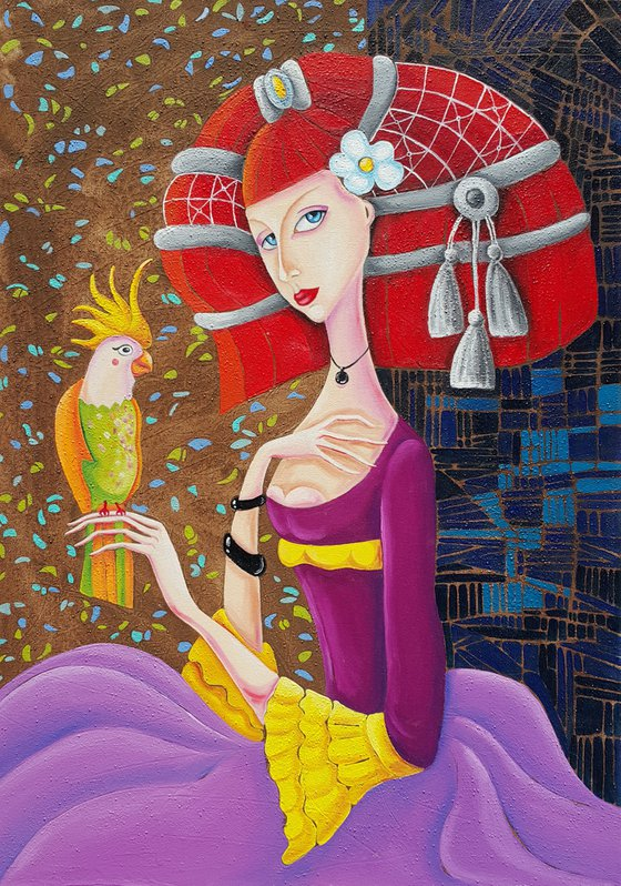 Girl with parrot(50x70cm, oil painting, modern art, ready to hang)