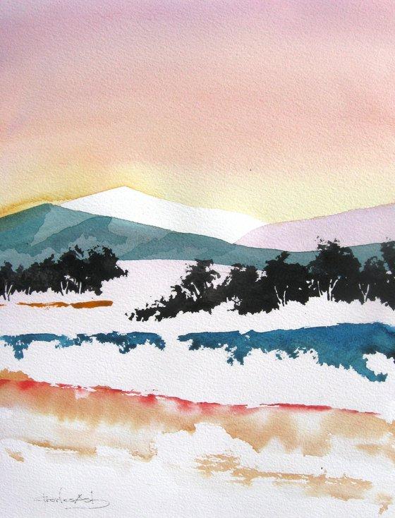 Ortiz Mountains - Original Watercolor Painting