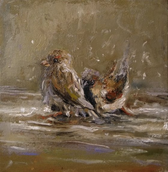 Bathing (25x26cm, oil painting, ready to hang)