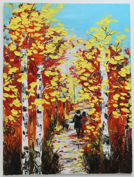 Walk in the Autumn Park- with a pet - Impressionistic landscape acrylic painting on canvas board - animal art - pet art