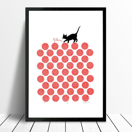 Cat in Cherry Red - Framed - FREE Worldwide Delivery