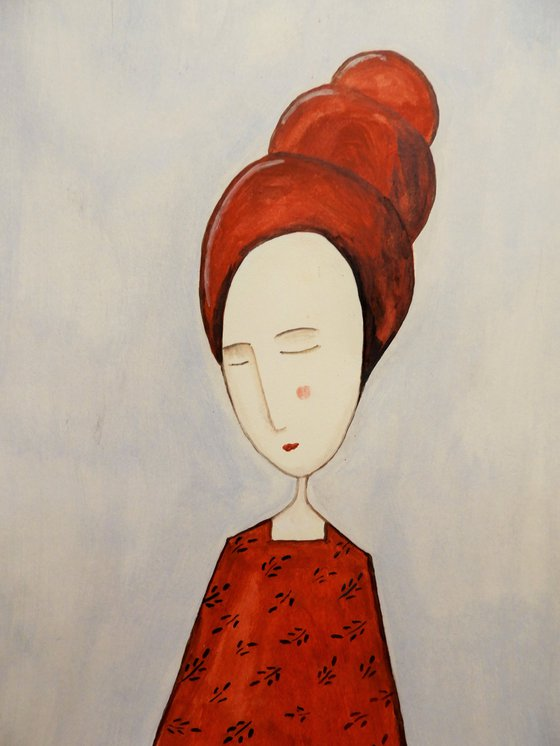 The woman in red- oil on paper