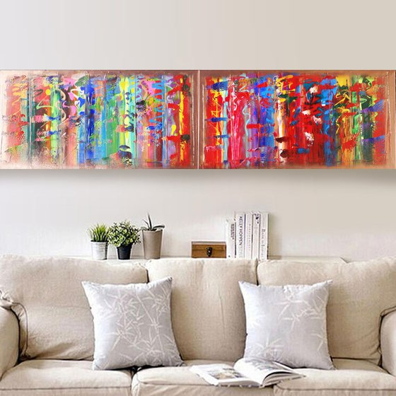 Rainbow A365 Large abstract paintings Palette knife 50x200x2 cm set of 2 original abstract acrylic paintings on stretched canvas