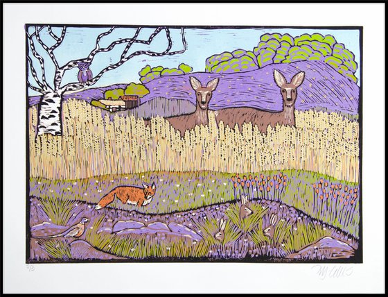 A Loveletter to home, linocut reduction