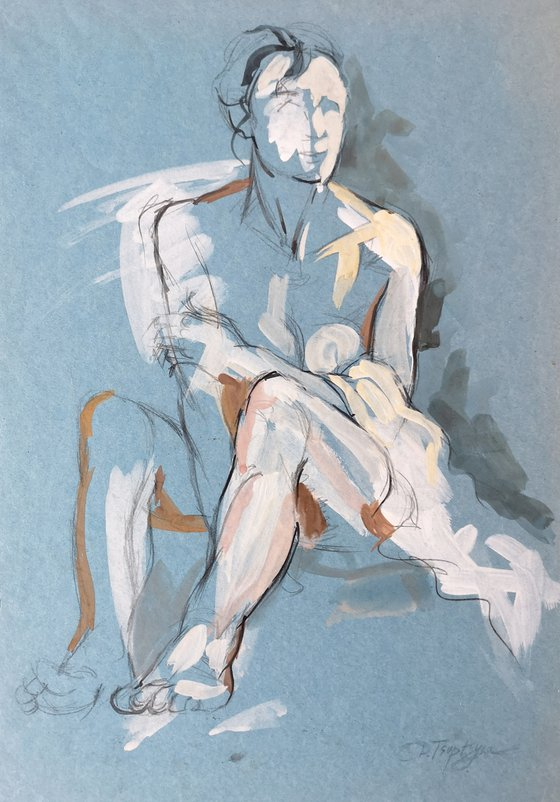 Woman's nude on a blue background