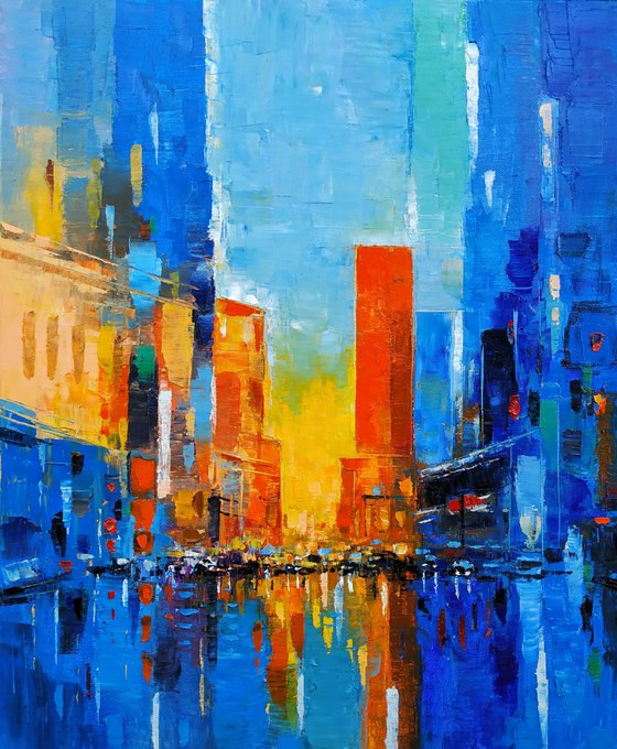 Cityscape (50x60cm, oil painting, ready to hang)