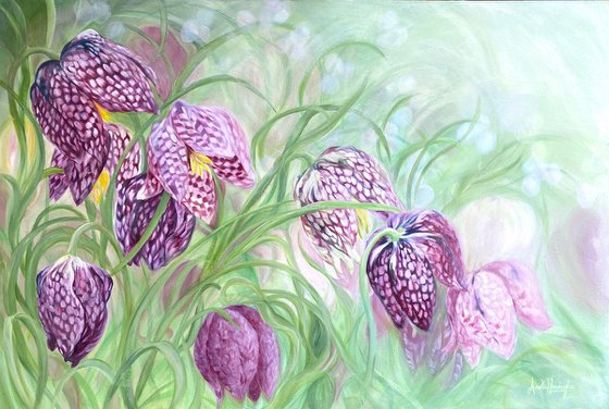 'Revivify'- Snakes Head Fritillary flower Painting