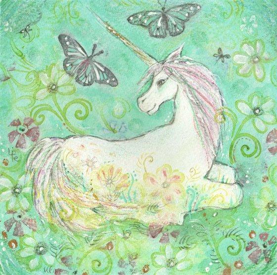 Unicorn original art monoprint unicorns reverie painting print limited edition