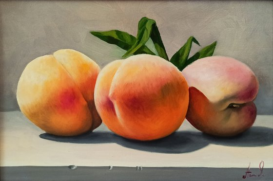 Still life with peach (20x30cm, oil painting, ready to hang)