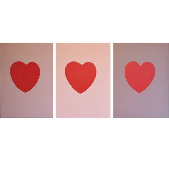 """Three of Hearts  48 x 20 """""""