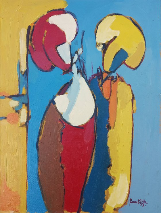 Abstract - talking (30x40cm, oil painting, ready to hang)