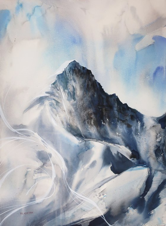 Mountains in the clouds 2. 55*75 cm. Abstract watercolor landscape.