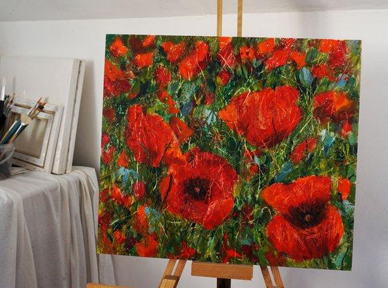 Poppies  (hot wax on OSB)