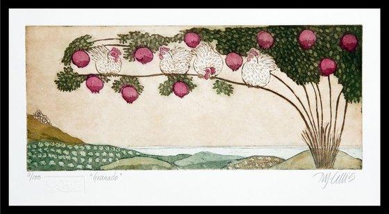 Pomegranate tree, aquatint etching, last prints