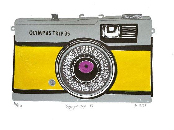 OLYMPUS TRIP 35 [YELLOW] - Limited-edition, vintage camera screenprint