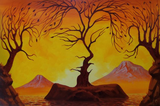 Kiss 60x40cm, oil painting, surrealistic artwork