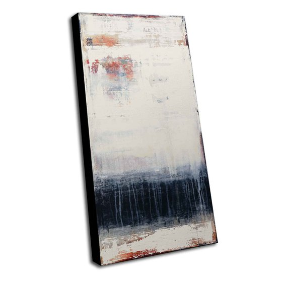 MIDNIGHT BLUES - 120 X 60 CMS - ABSTRACT ACRYLIC PAINTING ON CANVAS * WHITE * DARK BLUE