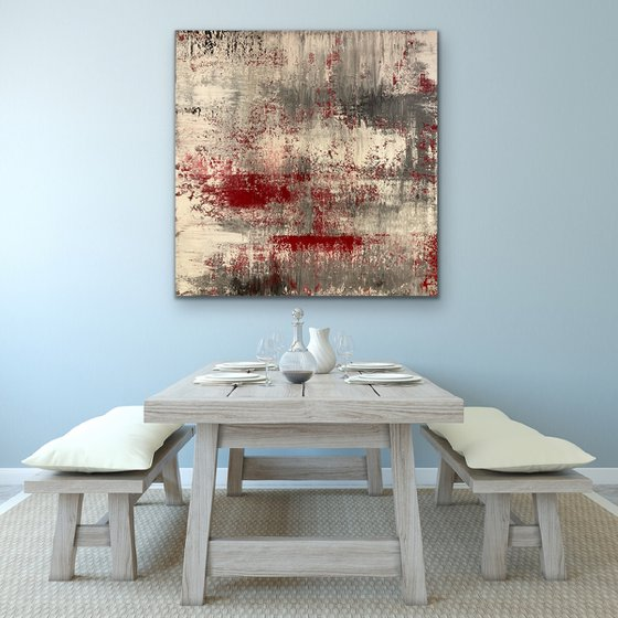 Signs of Life - Square - Ex Large - Red - Gerhard Richter Style - Ready to Hang Up