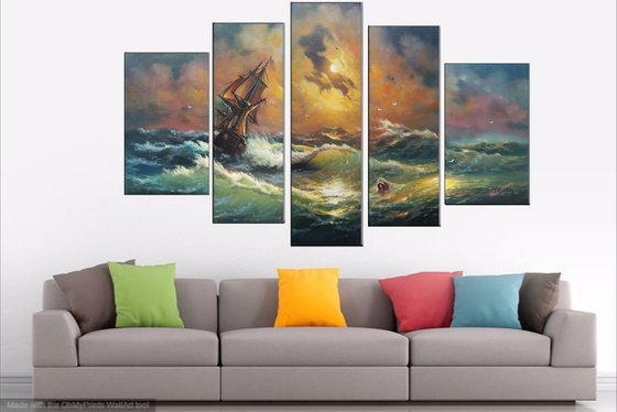 Inspired by Aivazovsky - Storm(125x80cm, oil painting, 5 items)