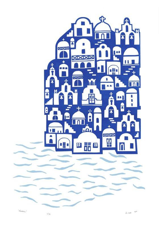 """Santorini"" - Unframed - FREE Worldwide Delivery"