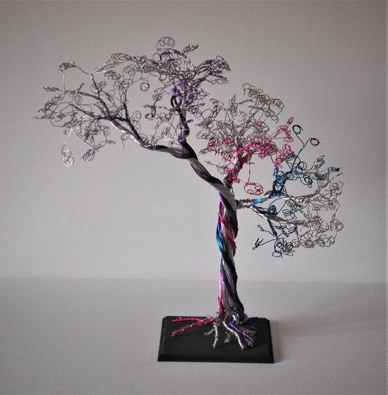 Silver  & Multi-coloured, Wire Tree Sculpture