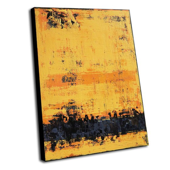 MIDSUMMER - 110 X 80 CMS - ABSTRACT ACRYLIC PAINTING TEXTURED * YELLOW * ANTHRACITE