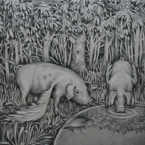 A watering hole in a wood