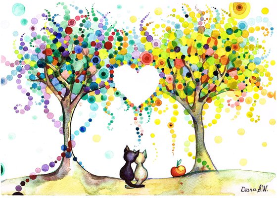 BLACK CAT WHITE CAT, ORIGINAL ART, CATS IN LOVE UNDER THE MULTI COLOUR TREES, ORIGINAL WATERCOLOUR PAINTING, ROMANTIC AND COLOURFUL PAINTING,LOVE,  ANIMALS, TREES FORMING LOVE HEART