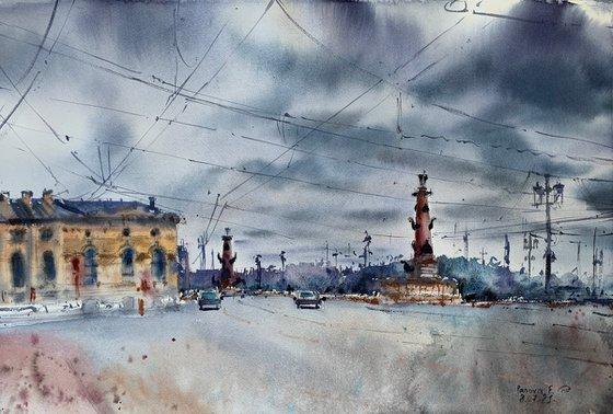 The sky over Vasilievsky Island. St. Petersburg.
