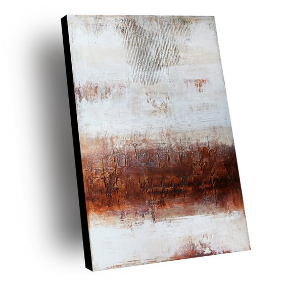 COPPER & WHITE - ABSTRACT ACRYLIC PAINTING TEXTURED * READY TO HANG