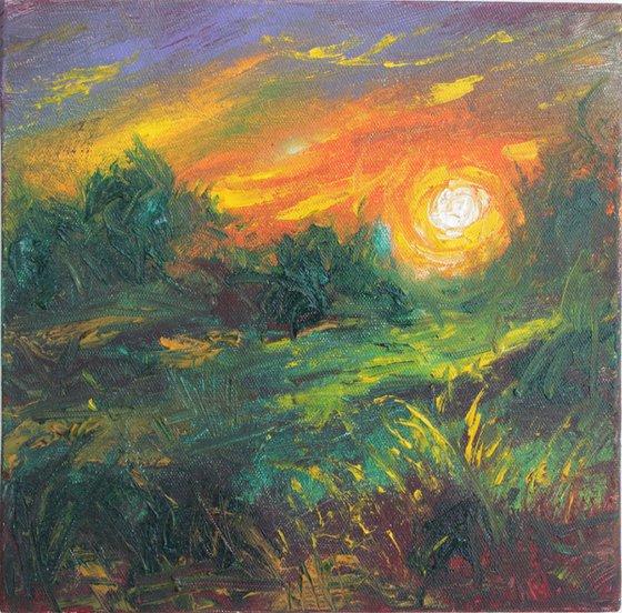 Evening Bliss - Oil painting landscape - impressionistic artwork - sunset -
